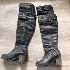 Free people distressed over the knee boots.